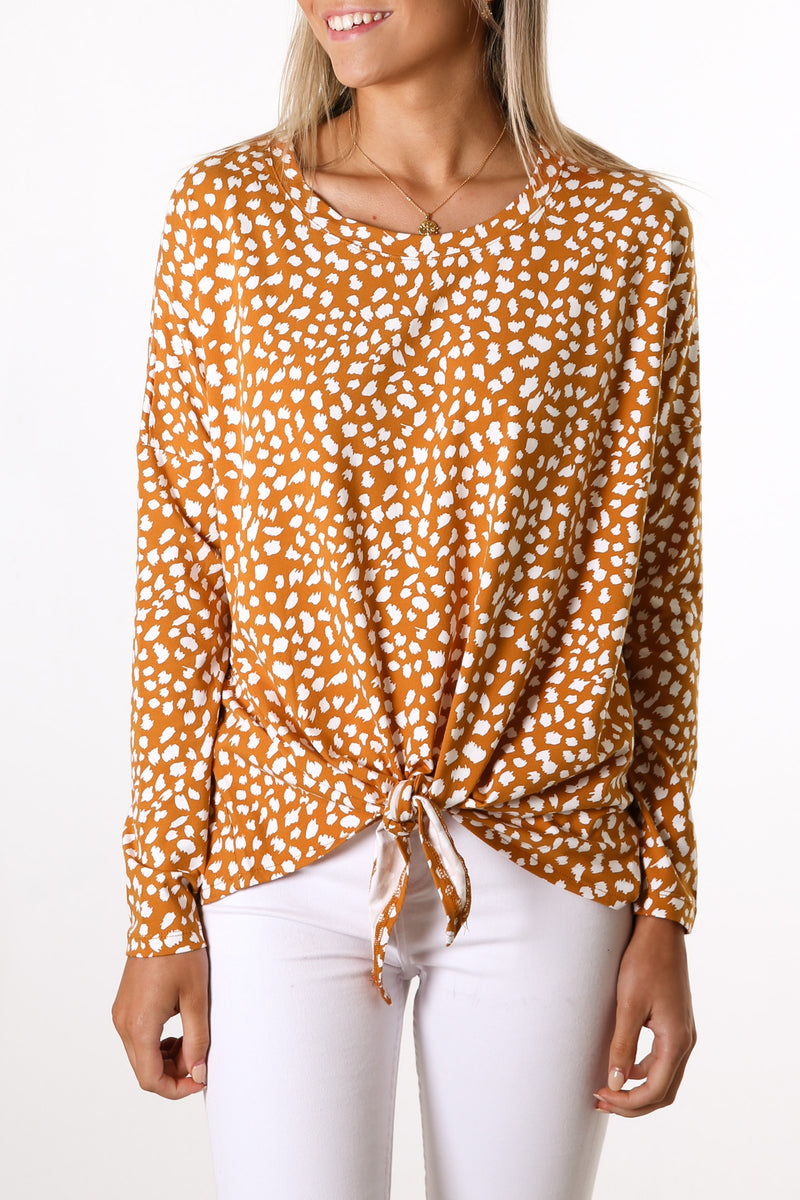 Willow Knot Top Pumpkin White Sahara