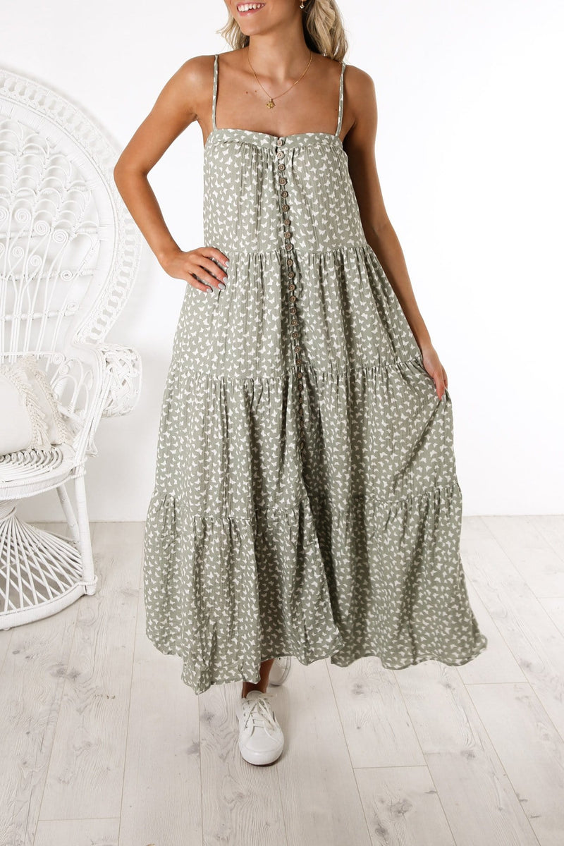 Womens Tiered Maxi Dress Butterfly