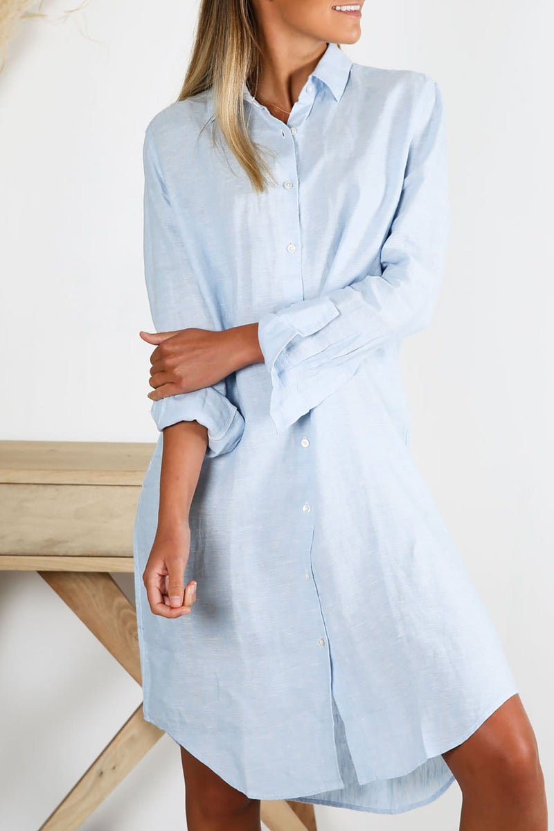 Xander Linen Shirt Dress Washed Blue Assembly Label - Jean Jail