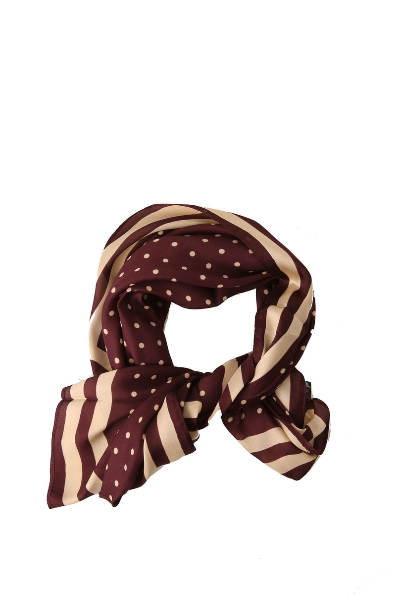 Zarah Head Scarf Burgundy Cream Spot Jean Jail - Jean Jail