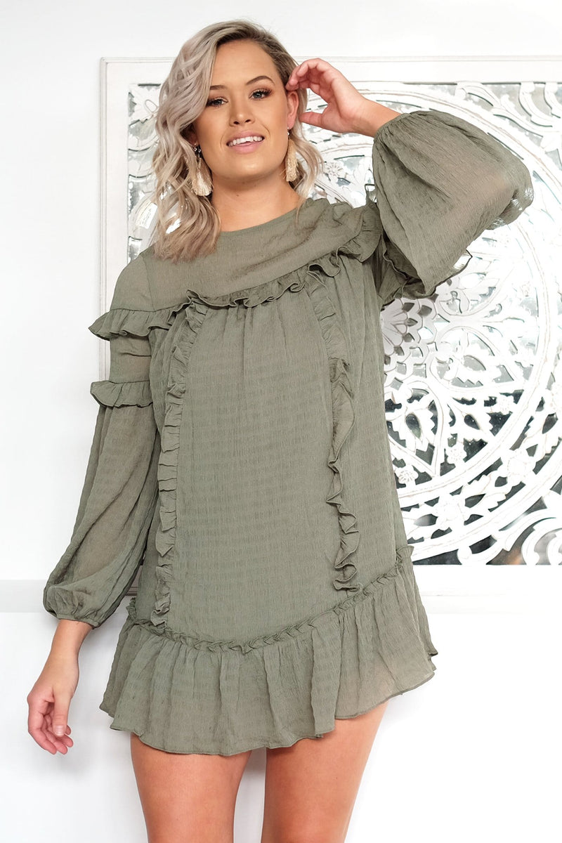 Zaylee Dress Olive Jean Jail - Jean Jail