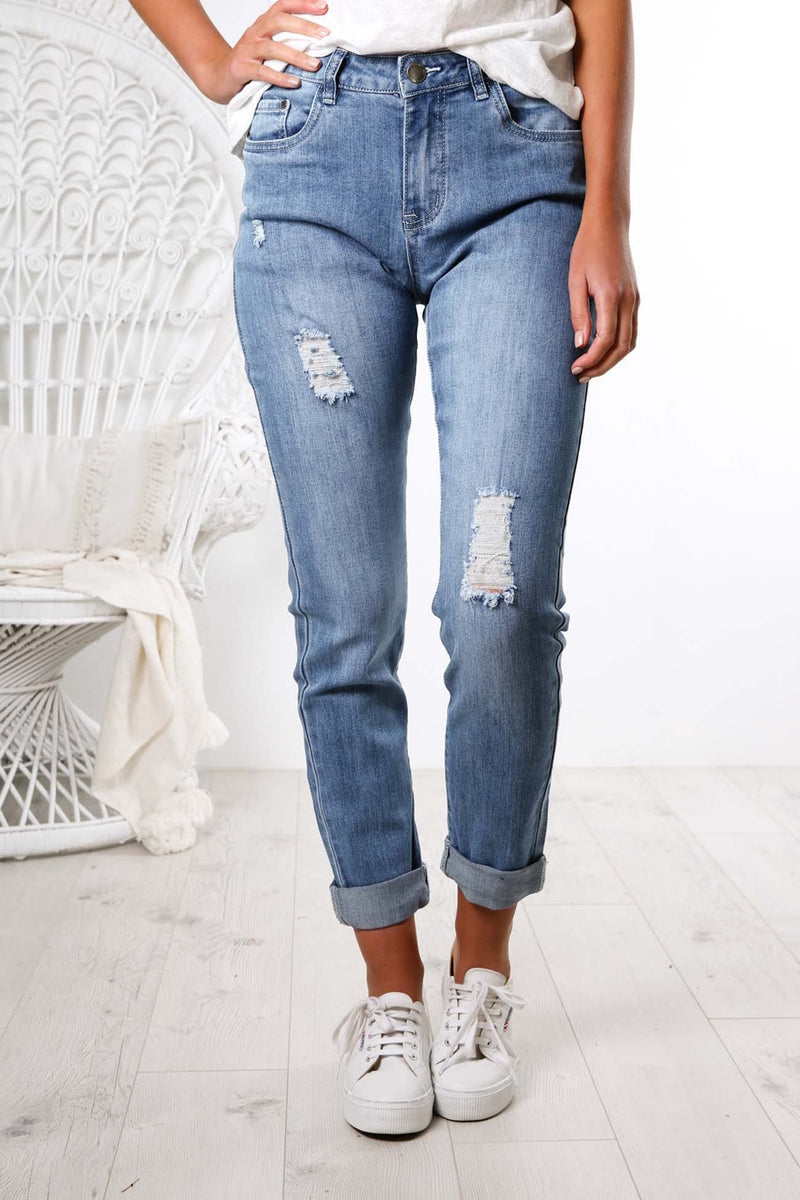 Zoey Jean Distressed Blue Jean Jail - Jean Jail