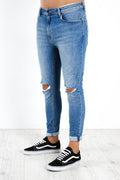 A Dropped Skinny Turn Up Jean Smokey Black