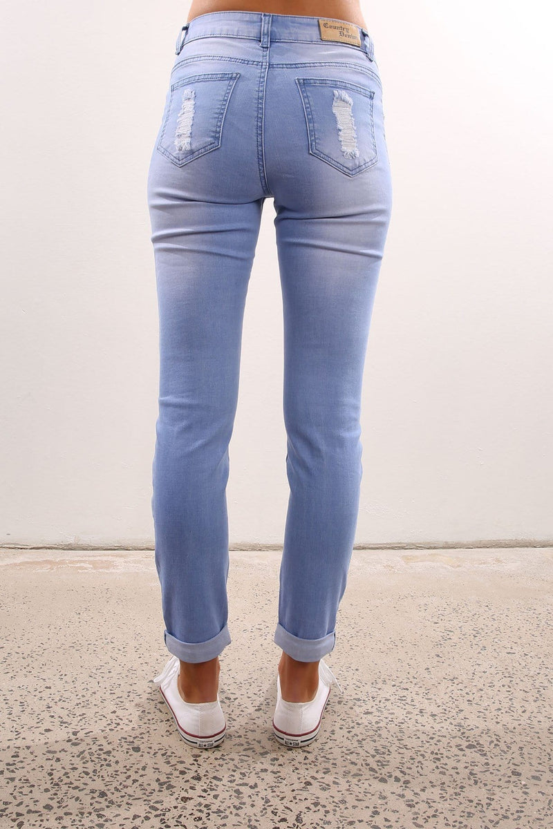Ella High Boyfriend Ripped Jean Mid Blue Jean Jail - Jean Jail