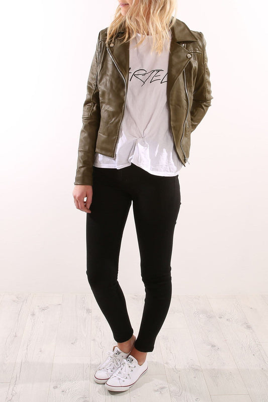 Editors Choice Pleather Jacket Khaki