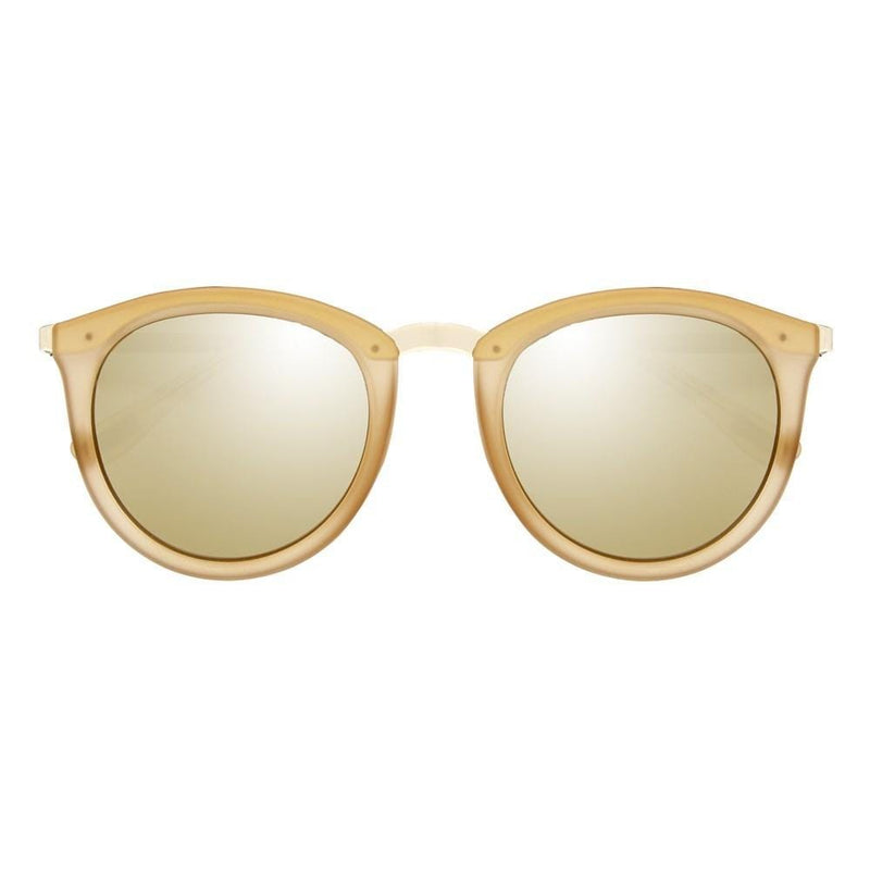 No Smirking Mist Matte // Gold Revo Mirror Polarised Lenses Le Specs - Jean Jail