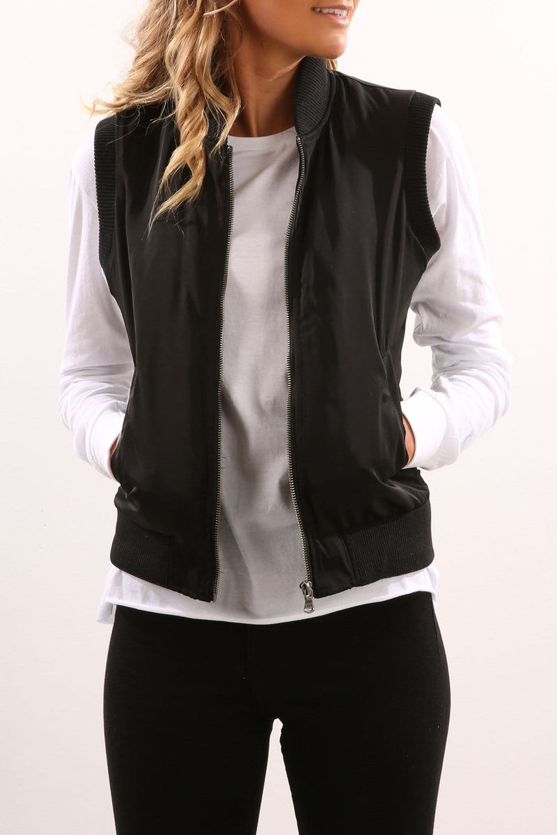Moon Bomber Vest Black All About Eve - Jean Jail
