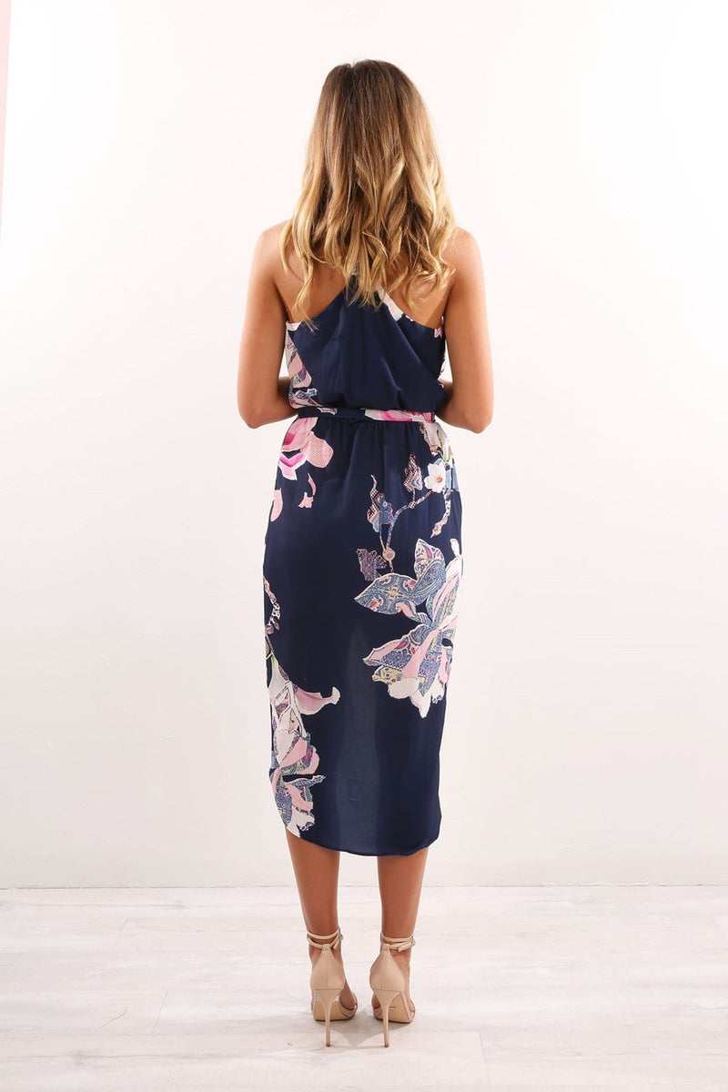 Selena Dress Navy Floral Jean Jail - Jean Jail