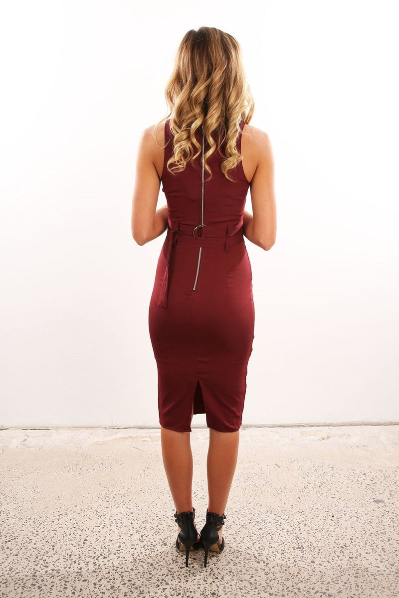 Adriana Dress Maroon Jean Jail - Jean Jail