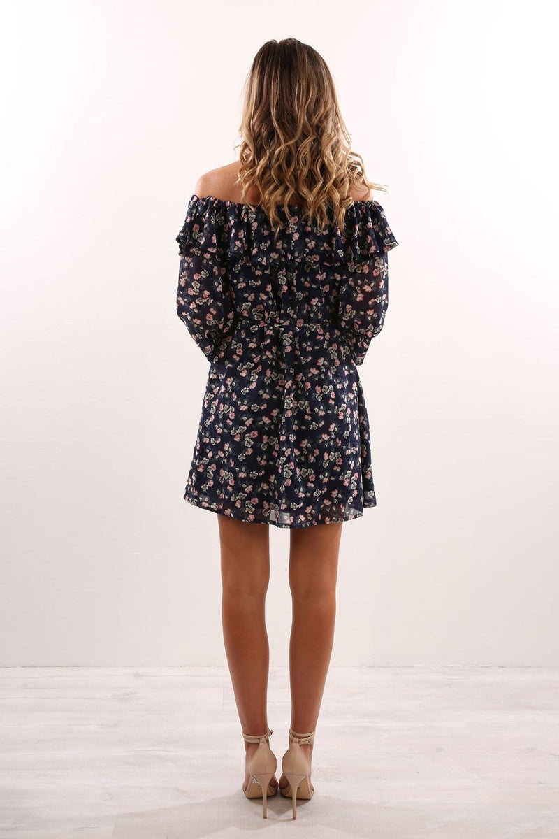 Saskia Dress Navy Floral Jean Jail - Jean Jail