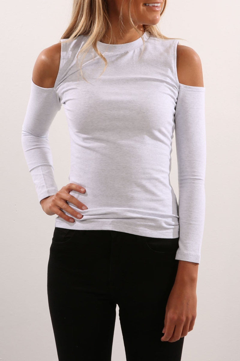 Whitby Cut Out Shoulder Long Sleeve Top Light Grey Marle Nude Lucy - Jean Jail