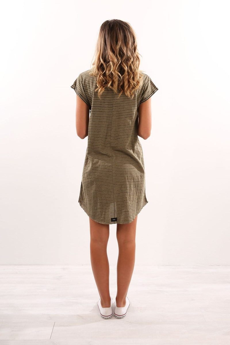 Inside Out Stripe Tshirt Dress Army Green Yardage Thrills - Jean Jail