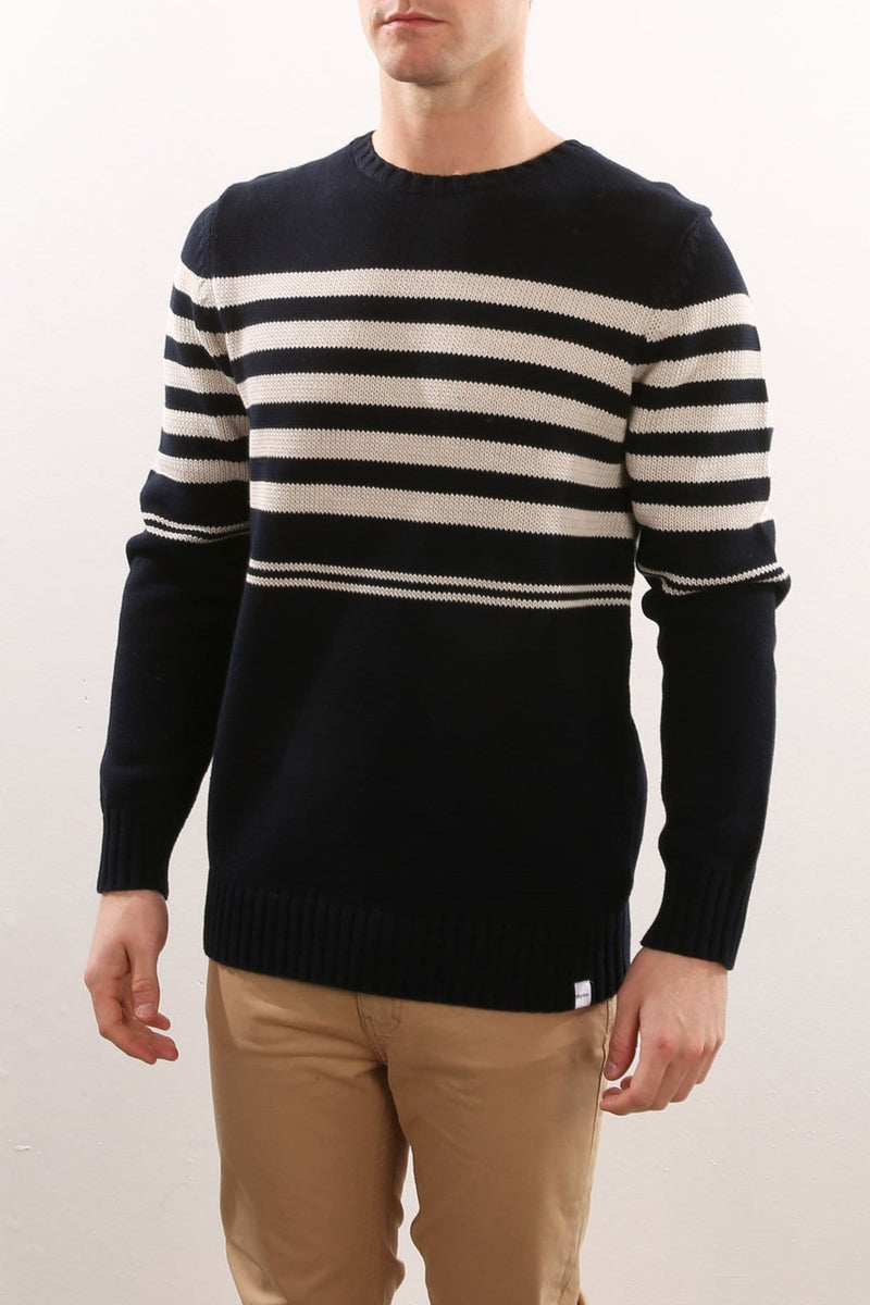 Collins Stripe Knit Navy Rhythm - Jean Jail
