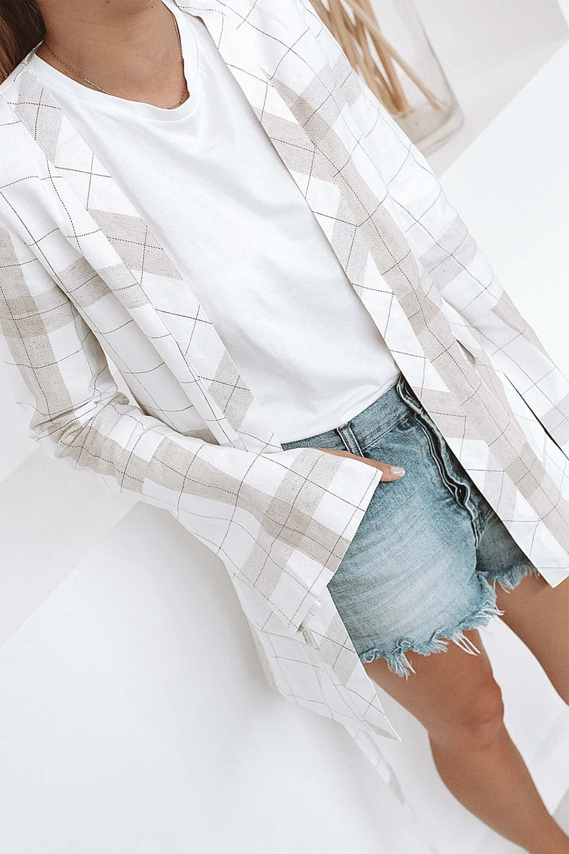 Ranch Blazer White Natural Check Prem The Label - Jean Jail