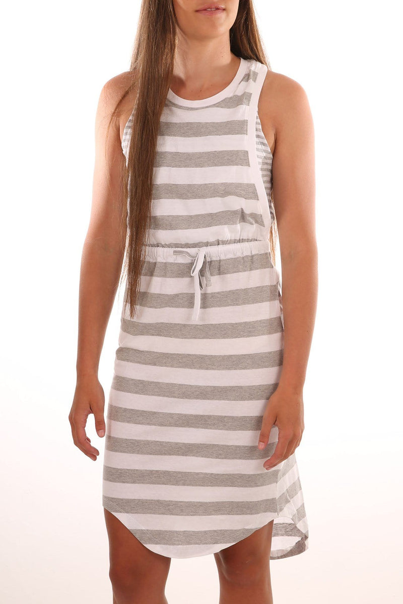 Frankie Dress Grey Marle White Stripe Silent Theory - Jean Jail