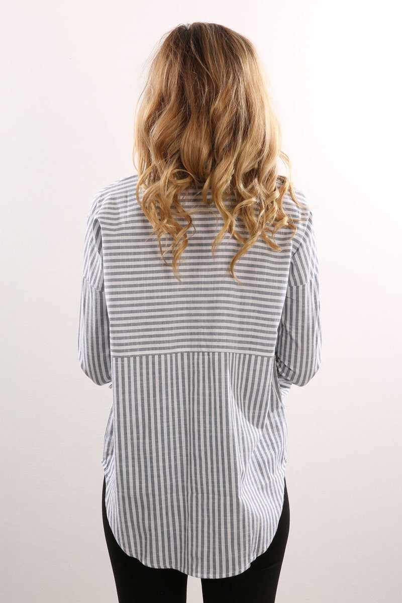 Lody Shirt White Blue Stripe Imonni - Jean Jail