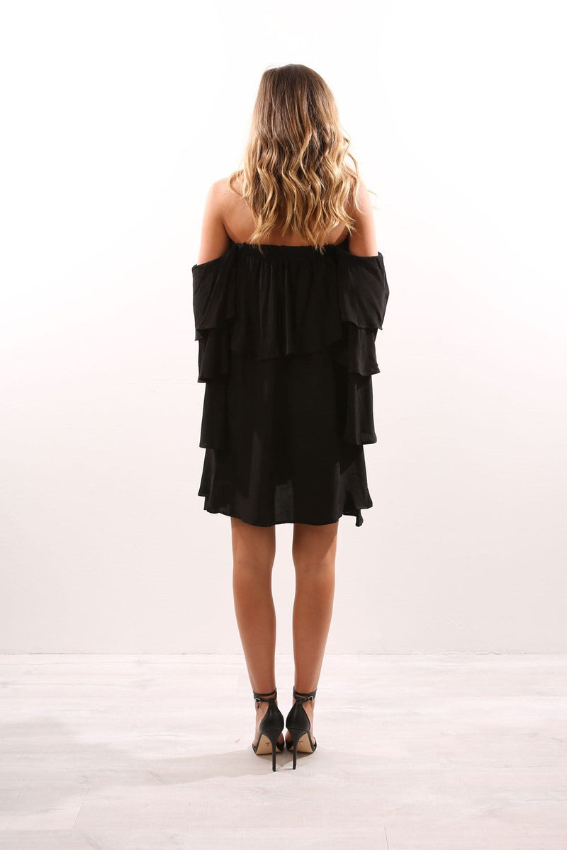 Mesa Shoulder Mini Dress Black MLM Label - Jean Jail
