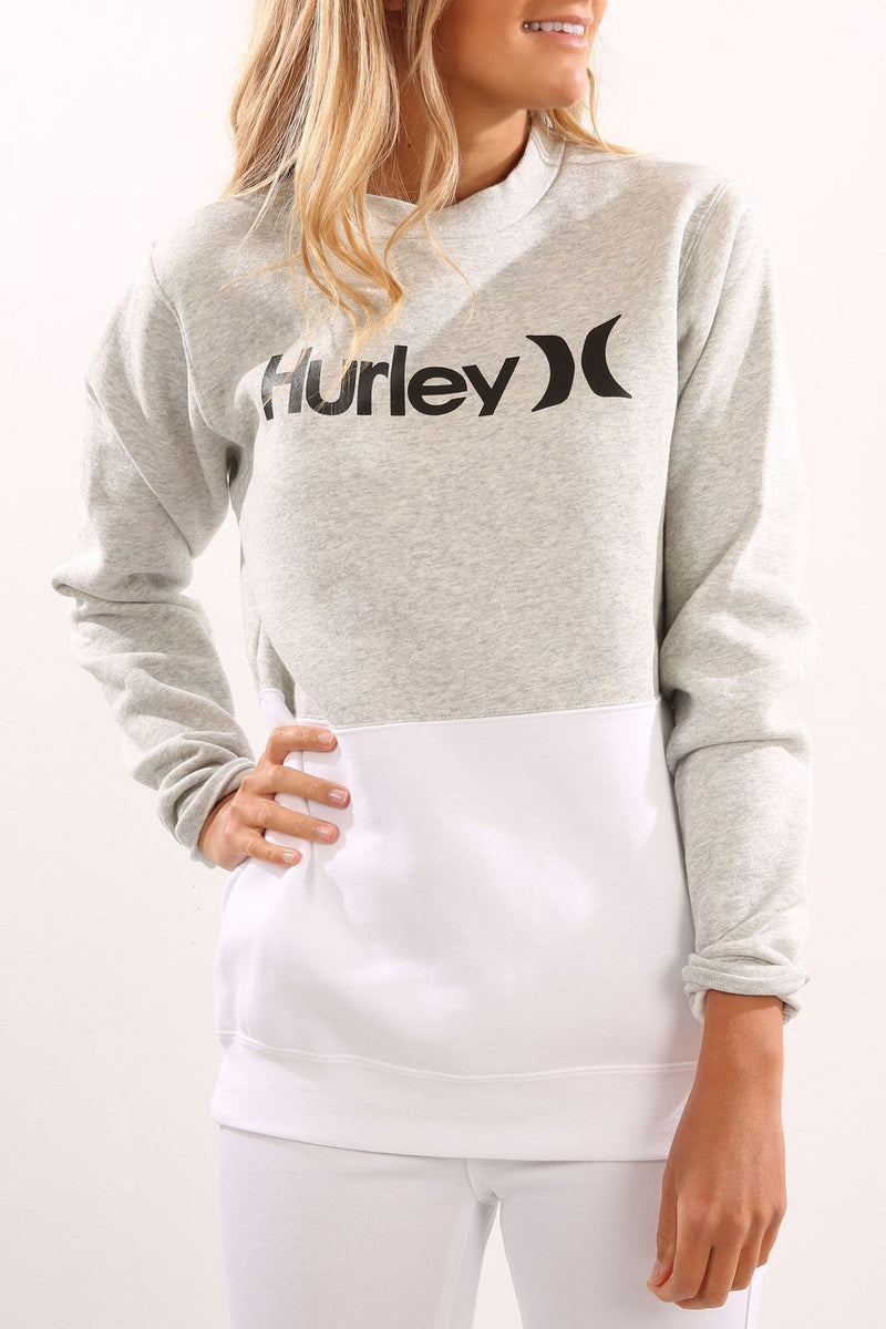 One & Only 2 Blocked Crew Fleece Heather Grey Hurley - Jean Jail