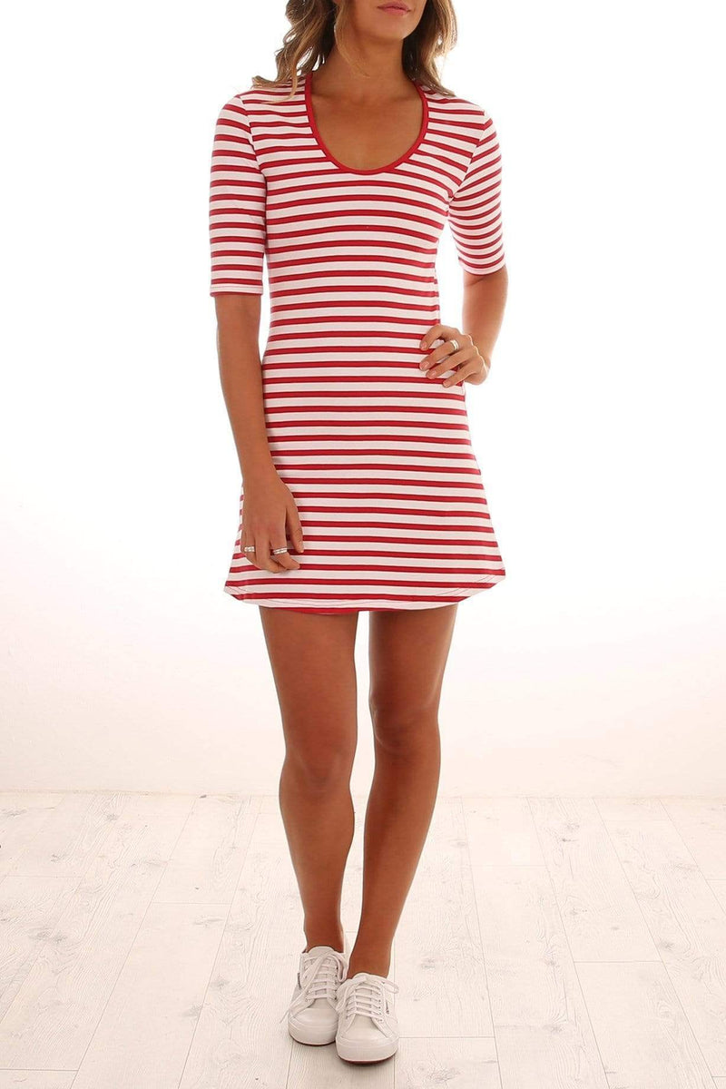 Sample - Voyage Stripe Dress Red White
