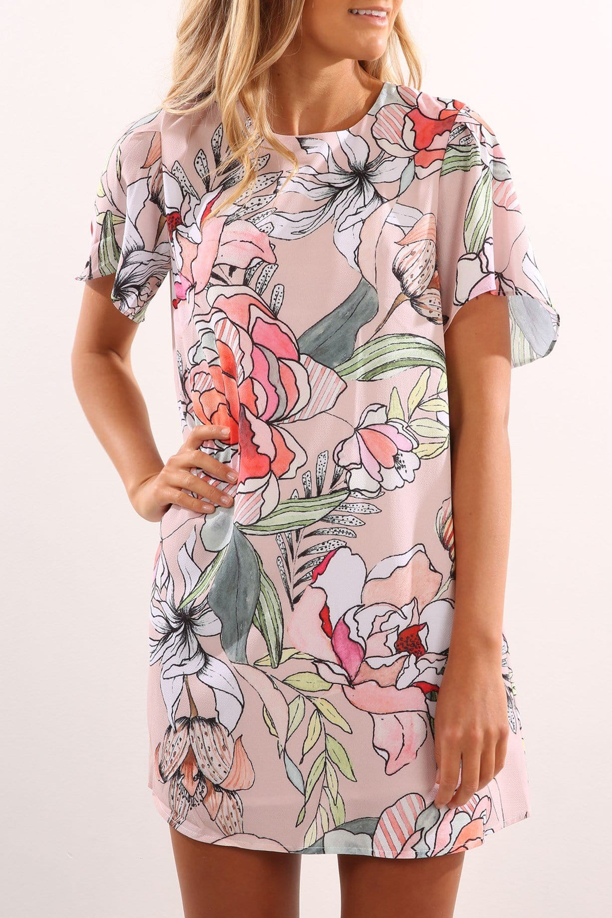In Bloom Dress Peach Floral