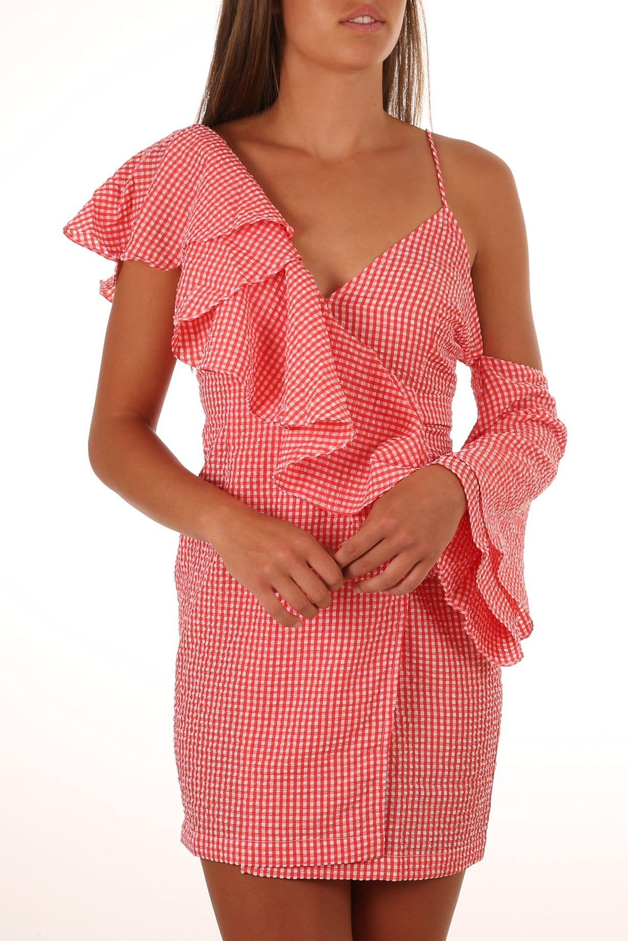 Clyde Wrap Dress Red Utopia Check