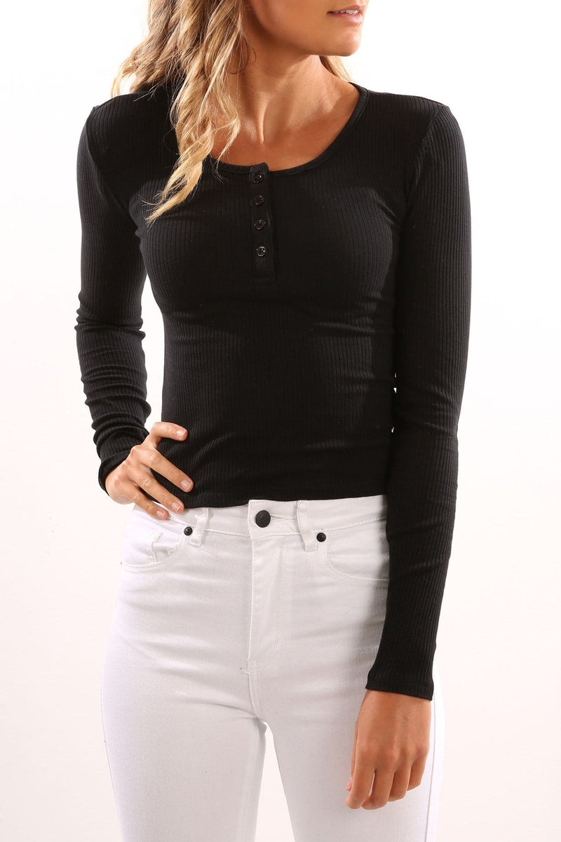Chippy Long Sleeve Top Black
