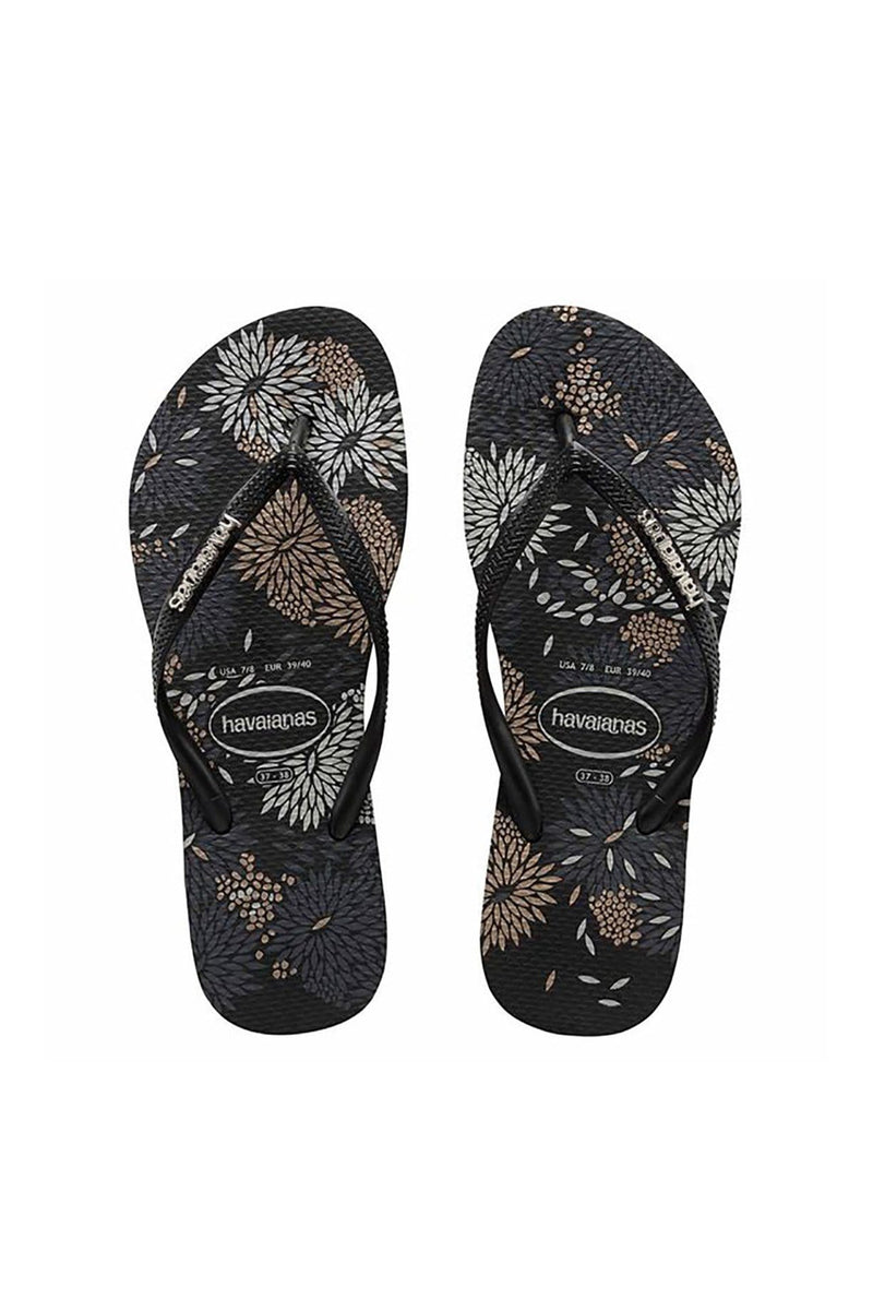 Slim Metal Logo Bloom Blossom Black // Black Havaianas - Jean Jail