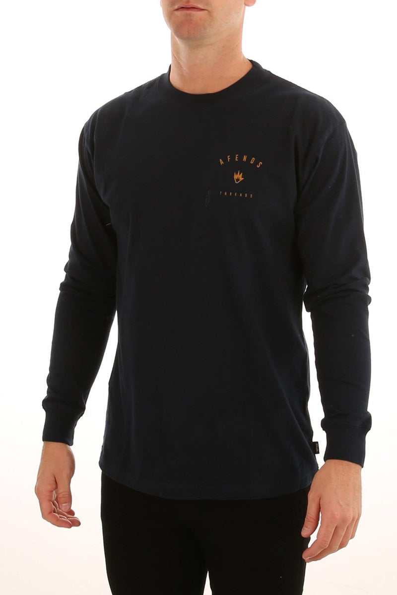 Threads Long Sleeve Tee Navy Afends - Jean Jail