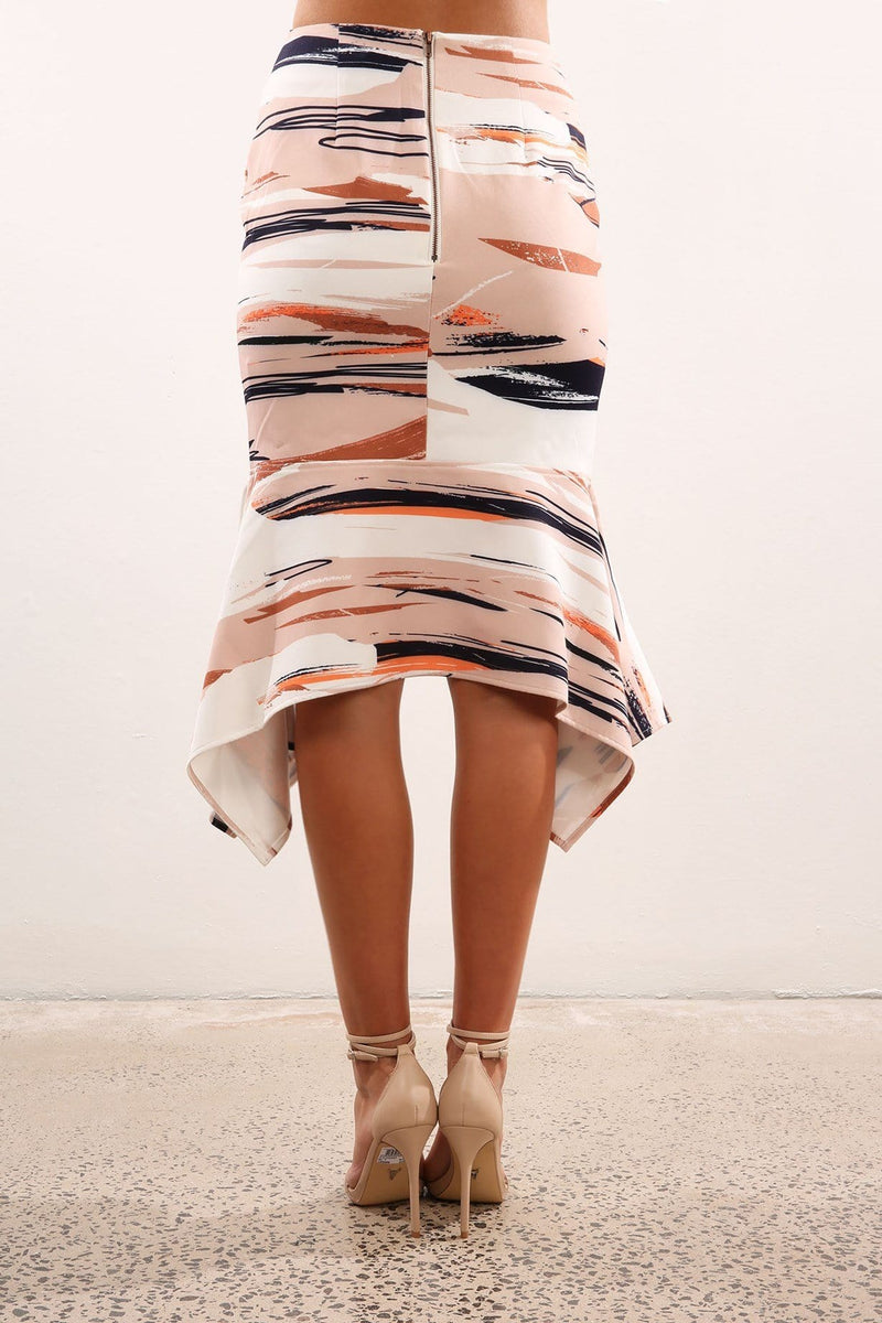 Sunset Nights Midi Skirt Beige Print Cooper St - Jean Jail