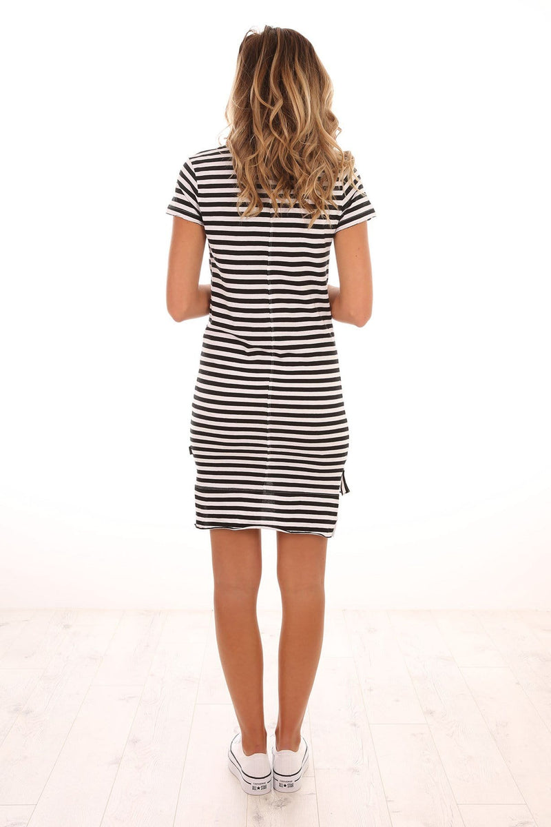 Gambino Dress Black White Stripe Silent Theory - Jean Jail