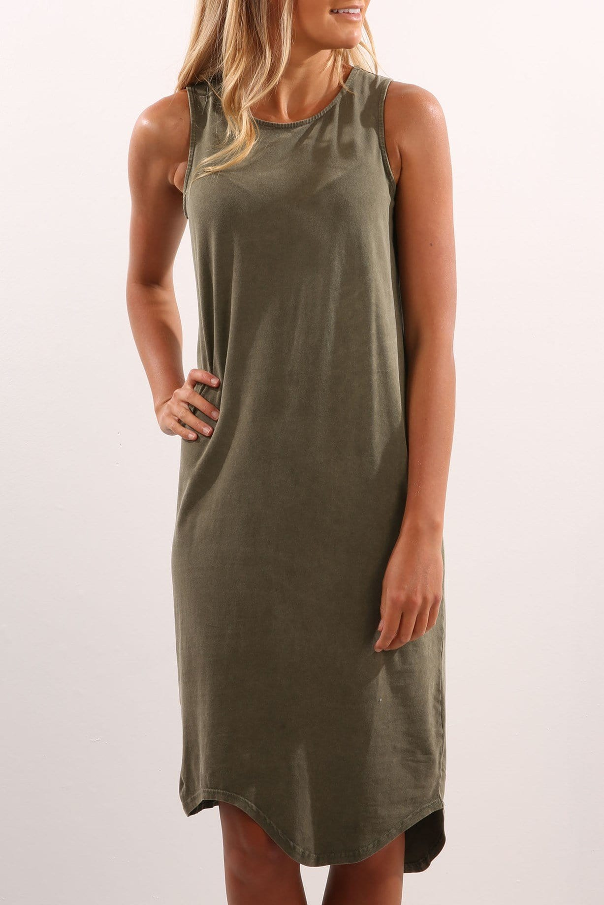 One In Eight Midi Dress Olive