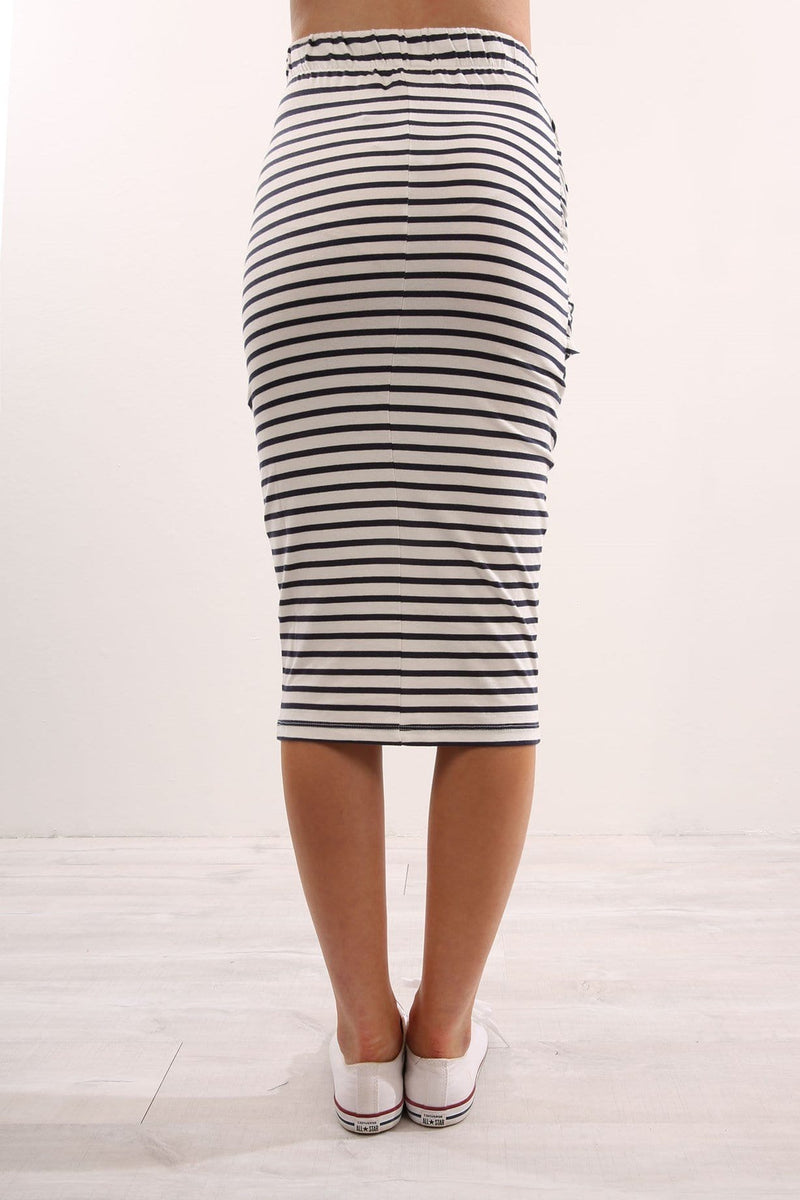 Gordon Tie Front Skirt Stripe Nude Lucy - Jean Jail