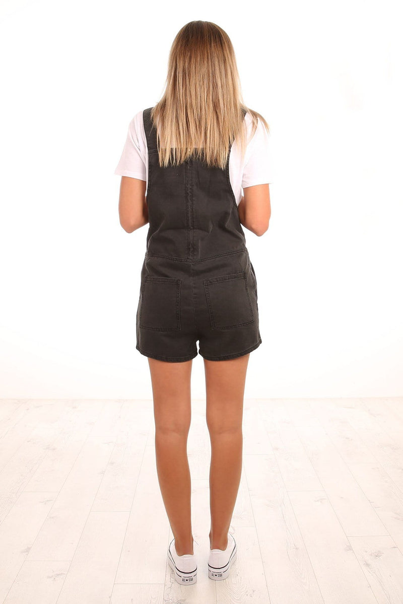 Field Playsuit Aged Black Assembly Label - Jean Jail