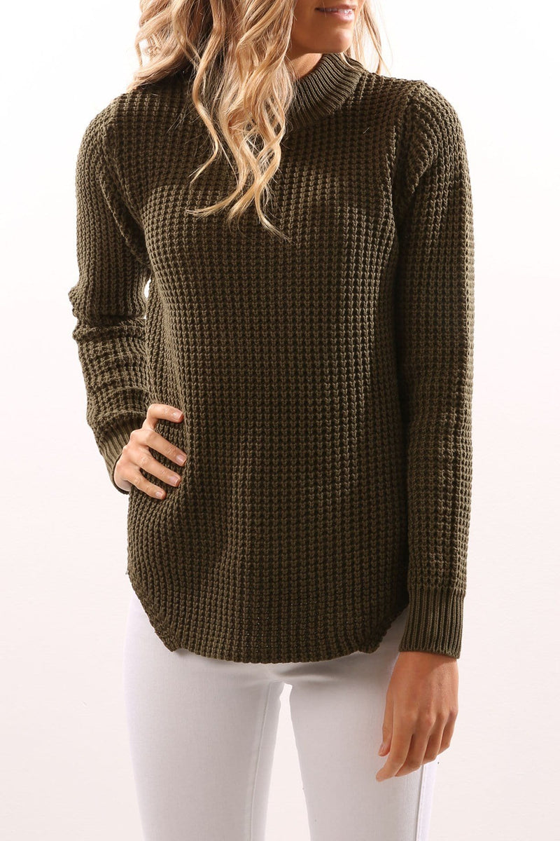 Malmar Knit Jumper Khaki All About Eve - Jean Jail