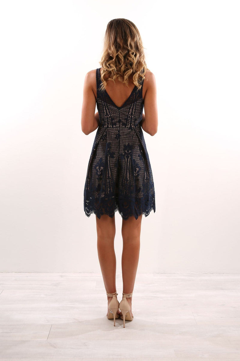 Be Just Fine Dress Navy Jean Jail - Jean Jail