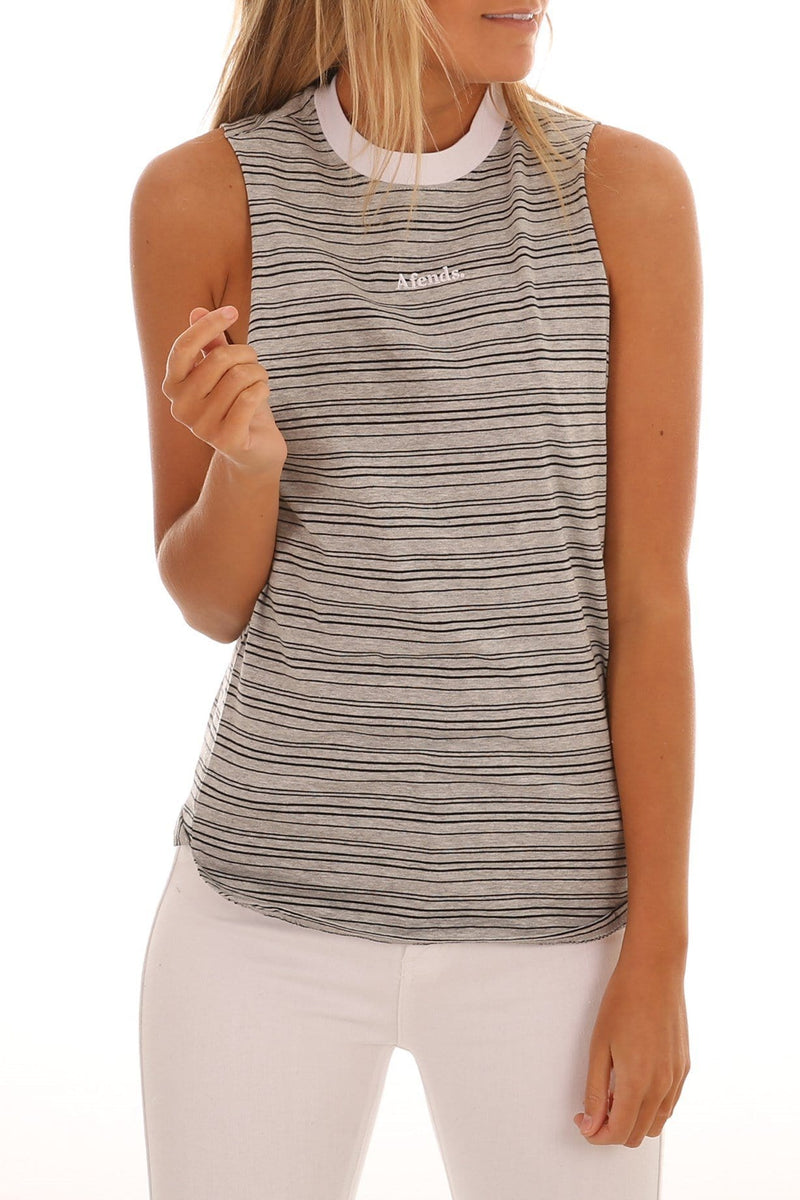 Dante Bandcut Tee Grey Marle Stripe Afends - Jean Jail