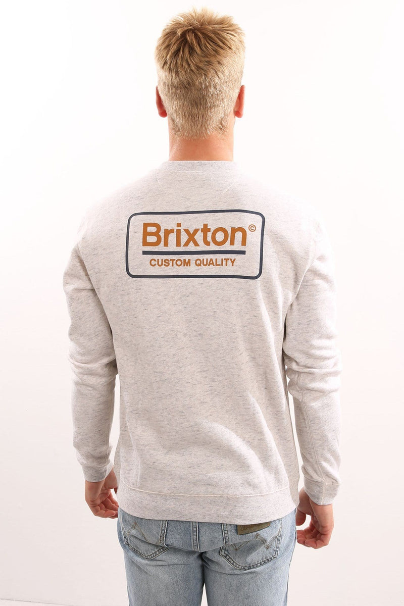 Palmer Crew Fleece Heather Stone Grey Brixton - Jean Jail