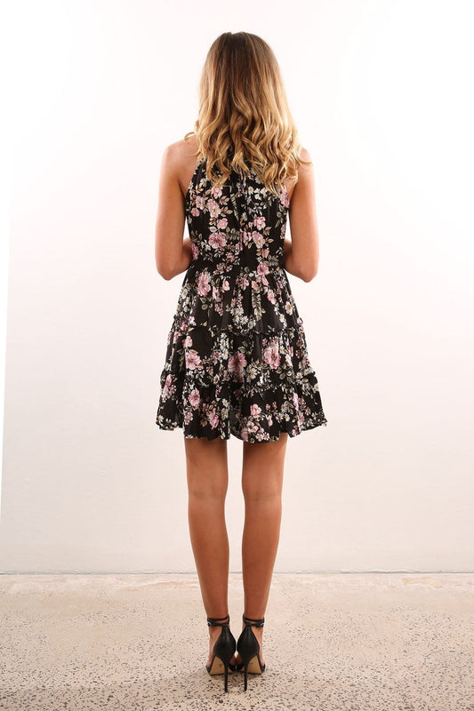 Daisy Chain Reef Dress Black Floral