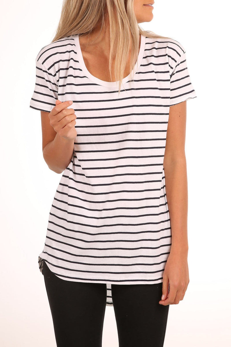 Isabel Stripe Tee White Stripe jac + mooki - Jean Jail