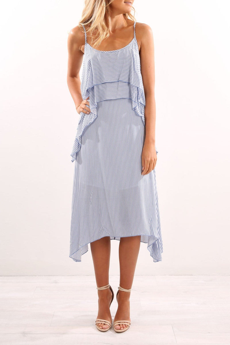 Hamptons Maxi Dress Blue White Jean Jail - Jean Jail