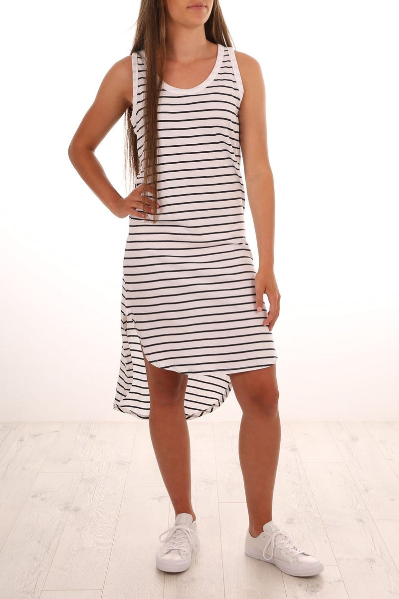 Polly Stripe Dress White Stripe jac + mooki - Jean Jail