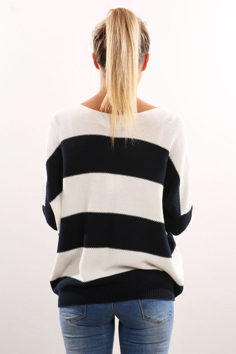 Weston Knit Navy Ivory Stripe Imonni - Jean Jail