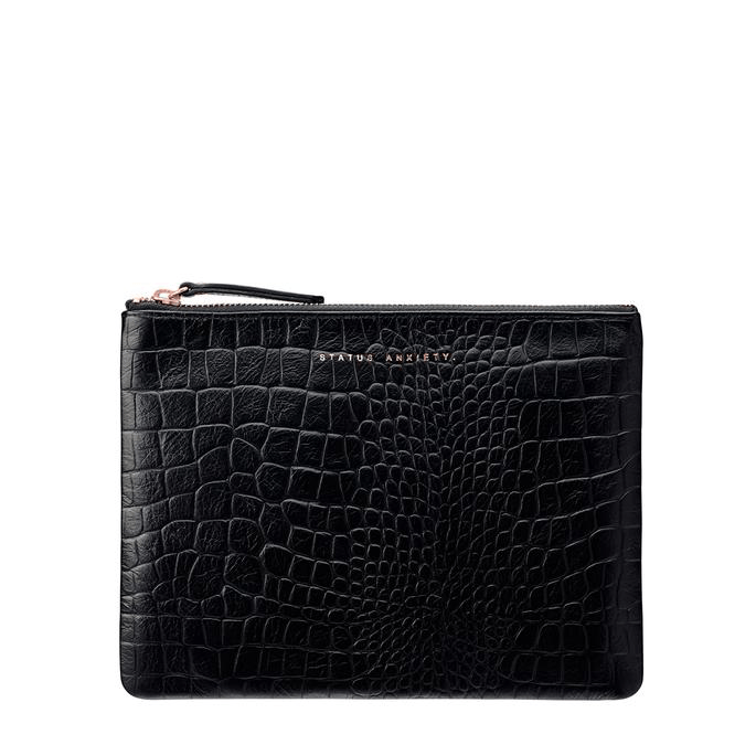 Fake It Clutch Black Croc Emboss Status Anxiety - Jean Jail
