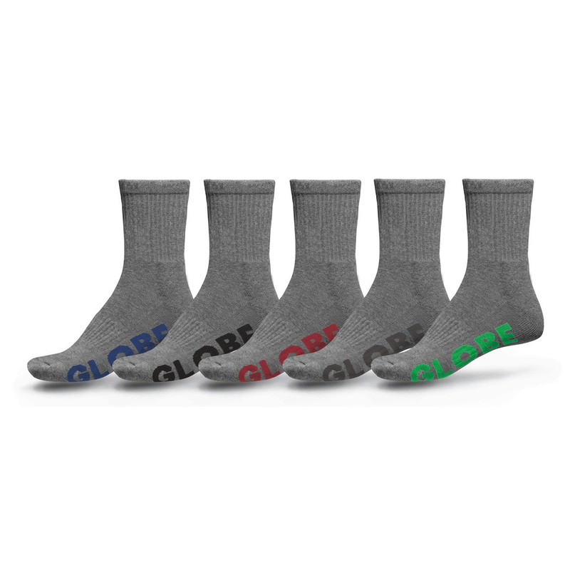 Large Stealth Crew Sock 5 Pack Grey Globe - Jean Jail