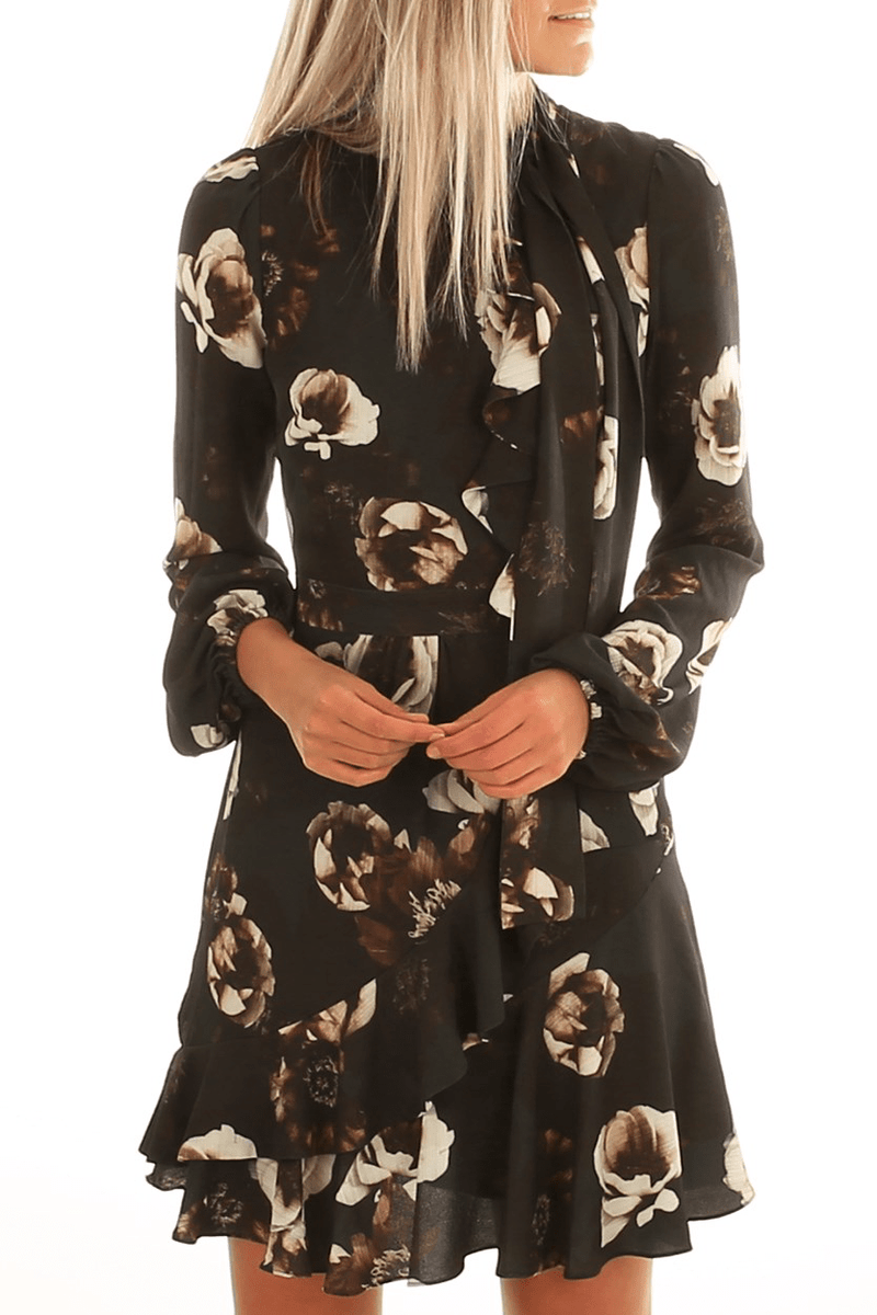 Gossip Scarf Dress Dark Floral Pasduchas - Jean Jail