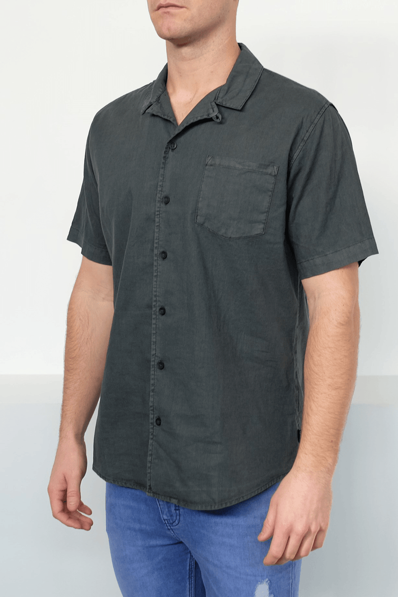 Breeze Linen Short Sleeve Shirt Charcoal Silent Theory - Jean Jail