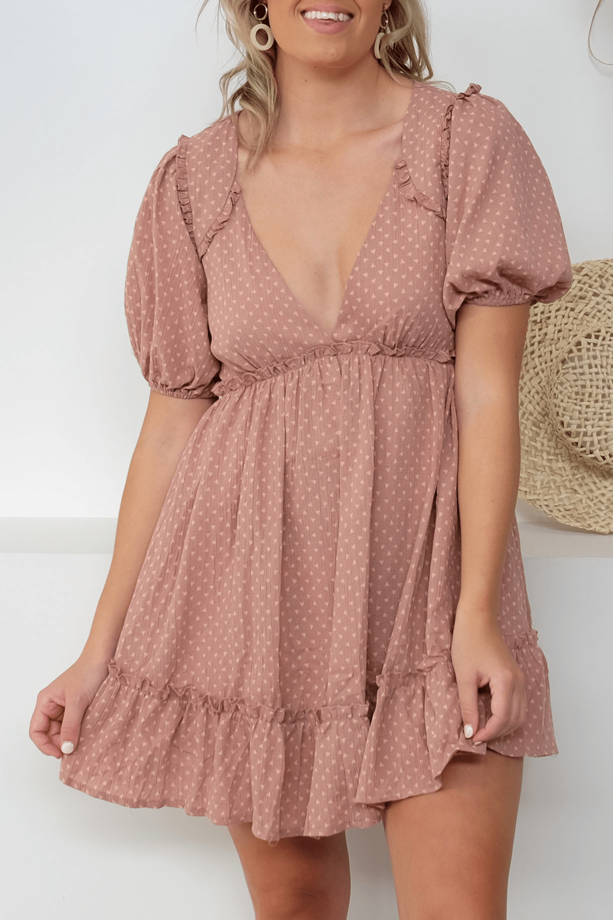 About Us Dress Dusty Pink