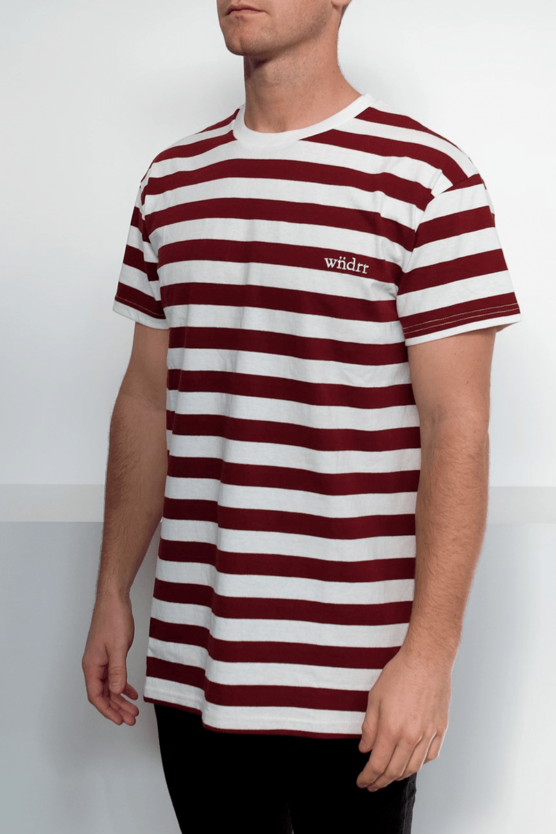 Cabin Stripe Custom Fit Tee Burgundy White Stripe WNDRR - Jean Jail