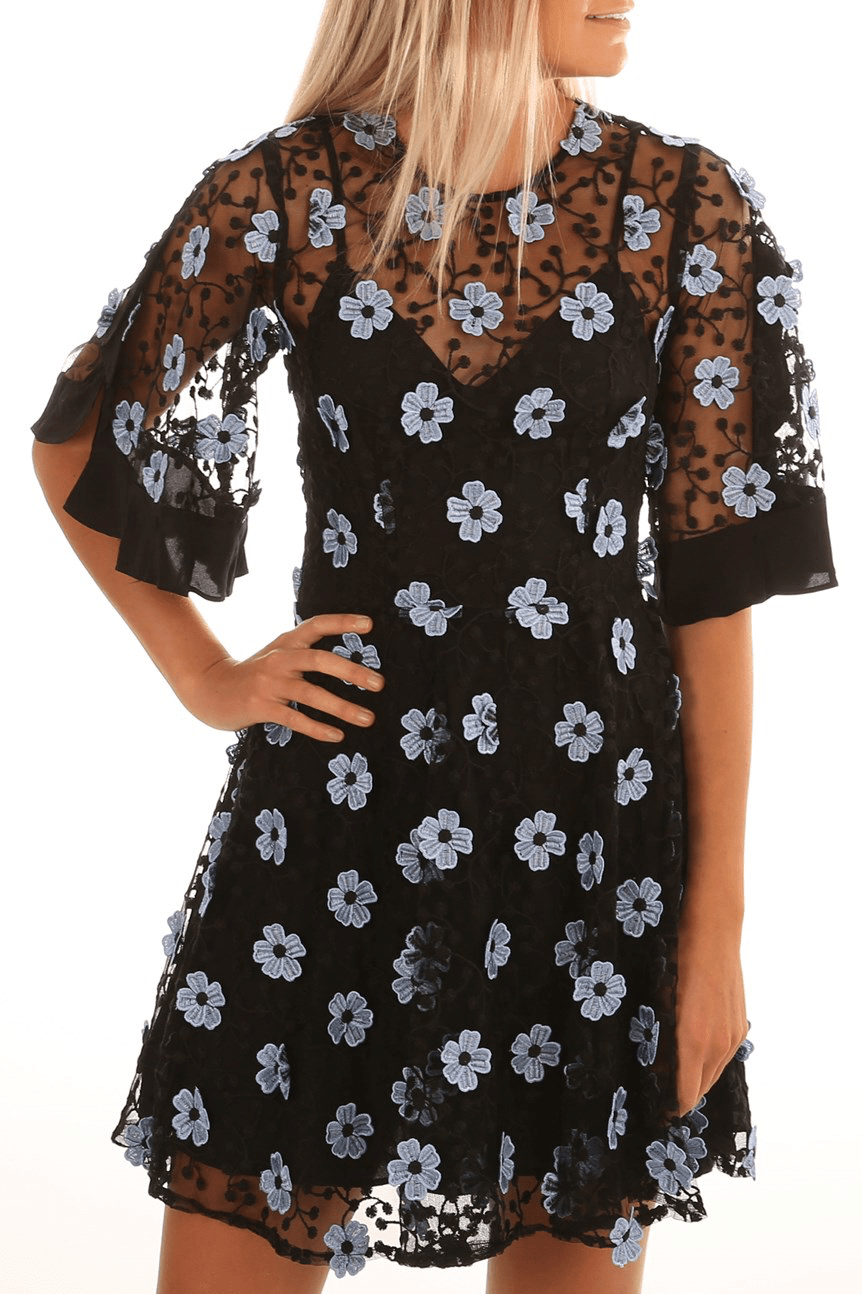Crave You Mini Dress Stone Blue Floral
