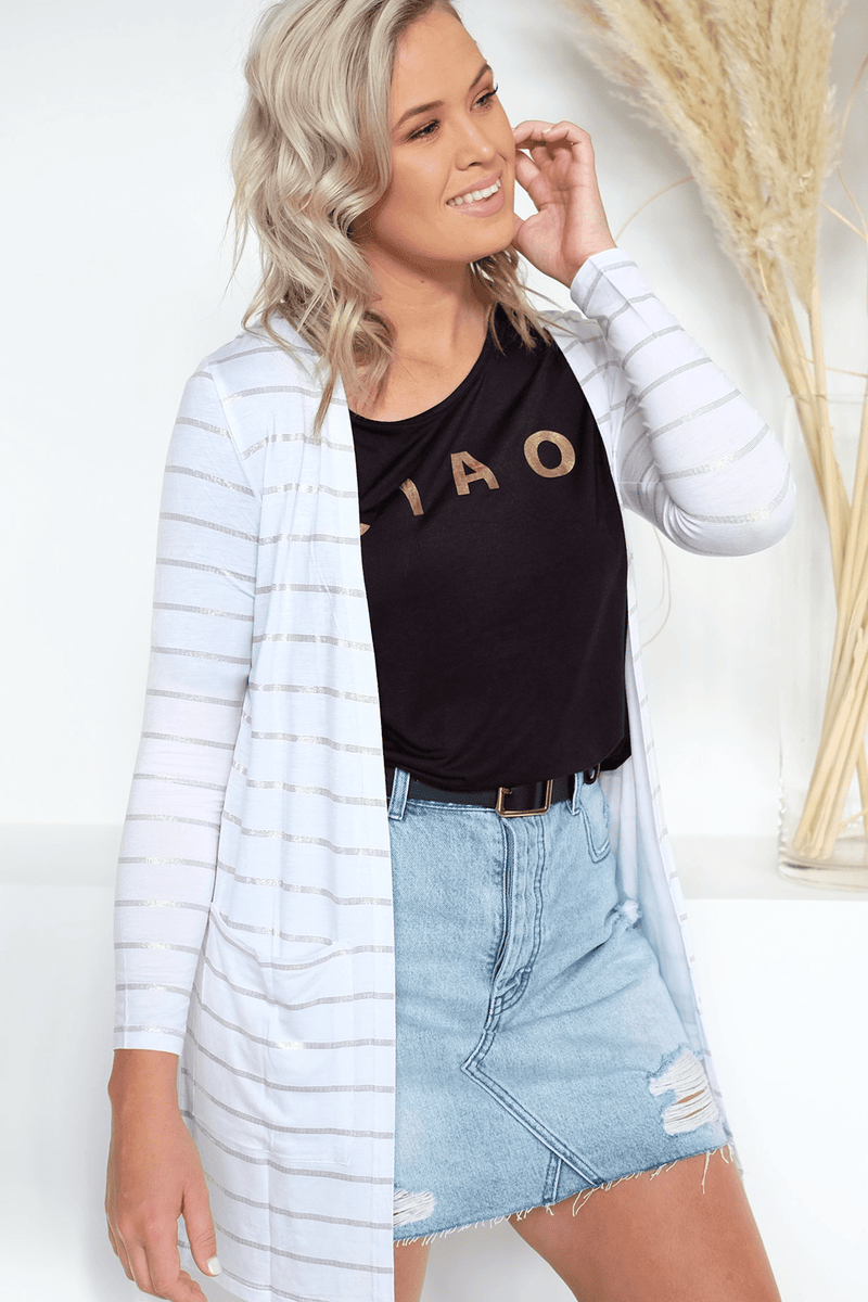 Berlin Cardi White Rose Gold Stripe Betty Basics - Jean Jail